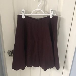 Anthropologie maroon scalloped sweater skirt